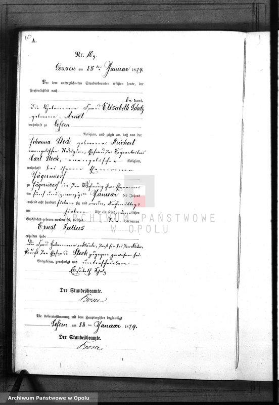 "Obraz 13 z jednostki ""Geburts-Neben-Register Standes-Amt Lossen 1879"""