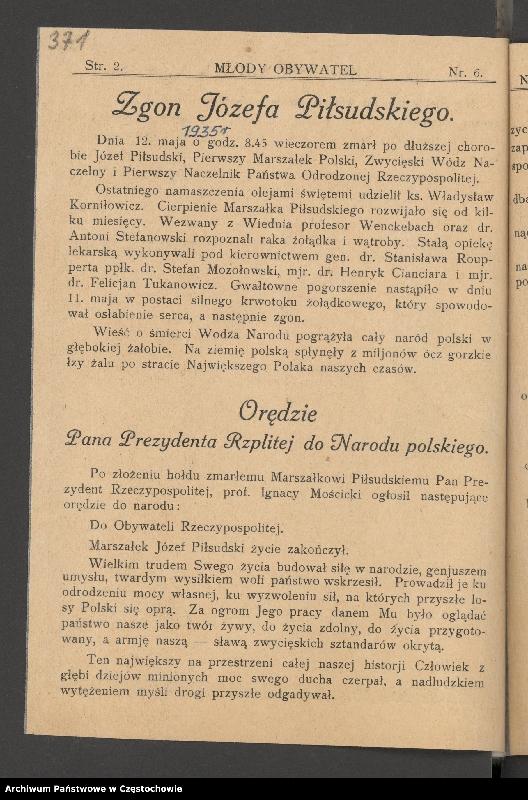 """Obraz 2 z kolekcji """"85 rocznica śmierci Józefa Piłsudskiego"""""""