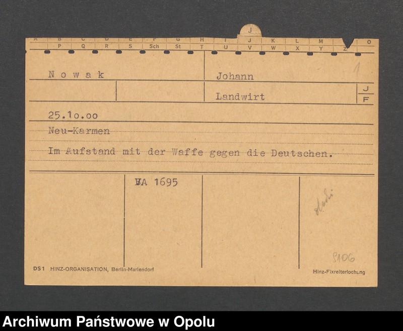 """Obraz 3 z jednostki """"[Nowak Johann, ur. 25.10.1900, zam. Neu-Karmen]"""""""