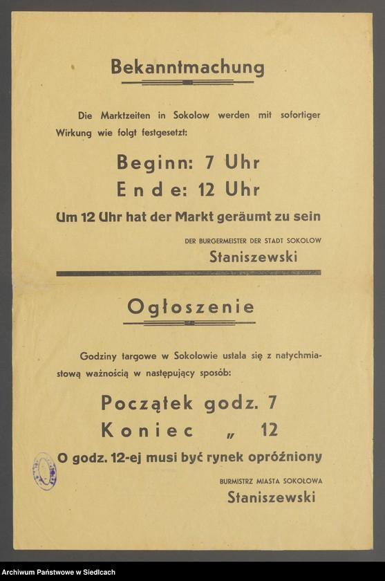 """Obraz 13 z kolekcji """"Afisze okupacyjne powiatu sokołowskiego 1939-1944"""""""