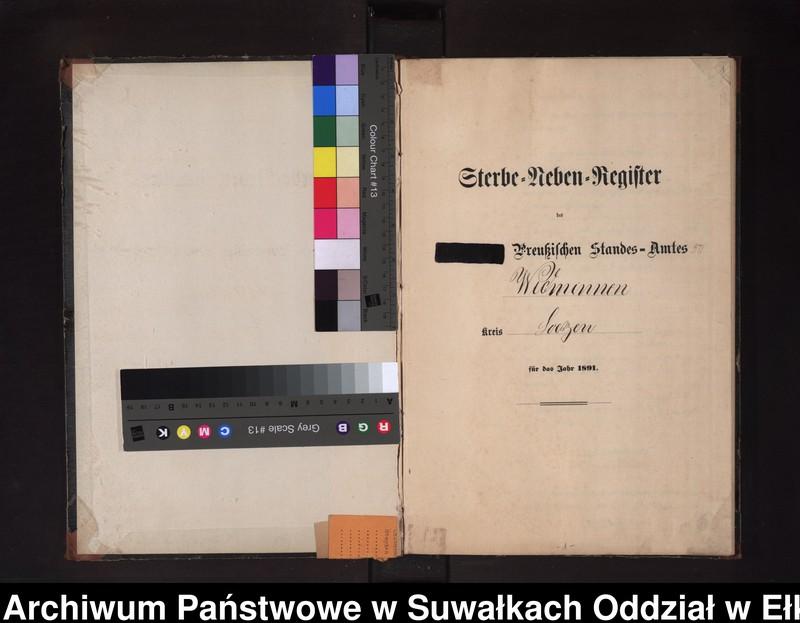"""Obraz z jednostki """"Sterbe-Neben-Register des Preussischen Standes-Amtes Widminnen Kreis Loetzen"""""""