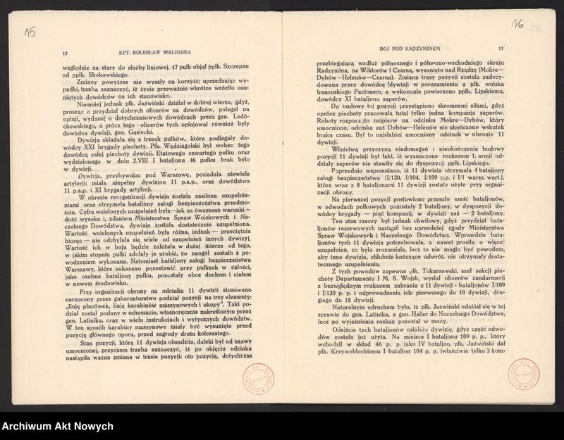 """Obraz 12 z jednostki """"Materiały dotyczące wojny 1920 roku. Odpisy akt, plany, wycinki prasowe. """""""
