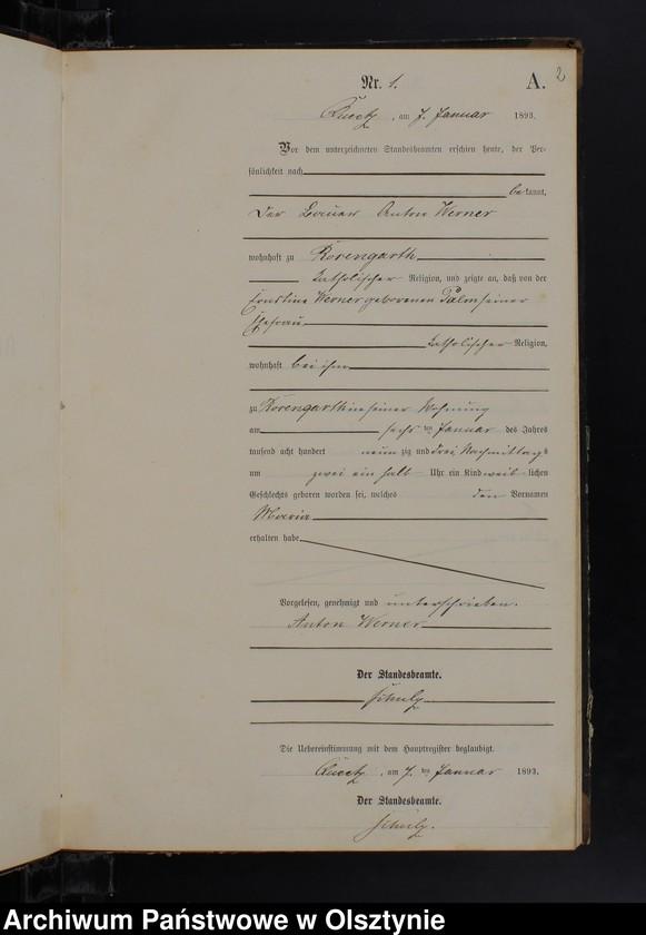 """Obraz z jednostki """"Geburts-Neben-Register Nr 1 - 86"""""""