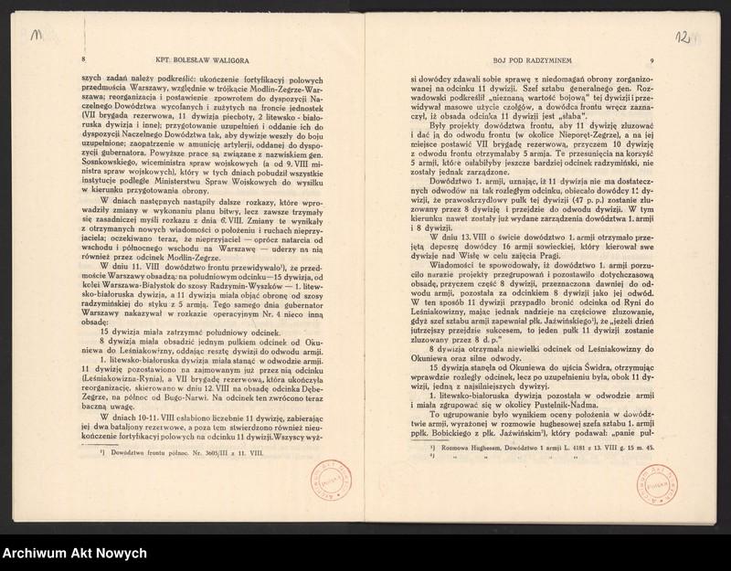 """Obraz 10 z jednostki """"Materiały dotyczące wojny 1920 roku. Odpisy akt, plany, wycinki prasowe. """""""