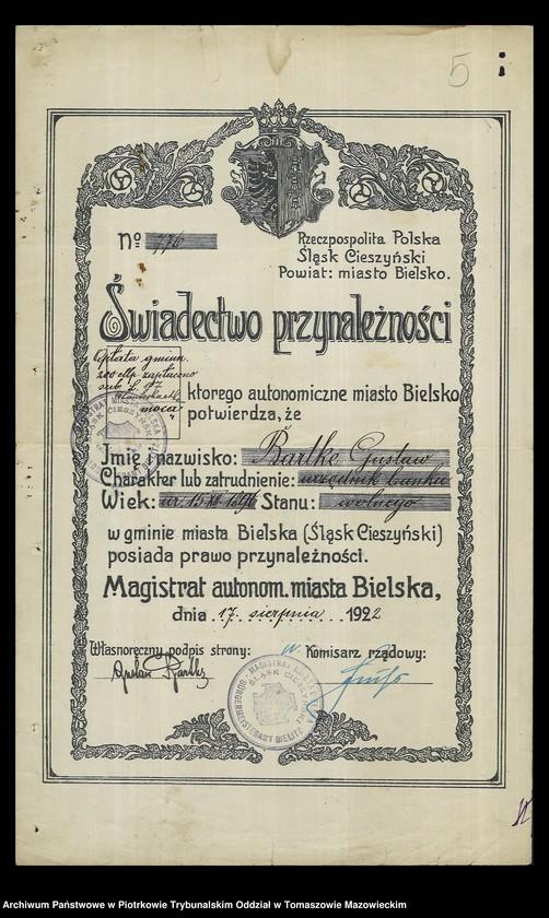 """Obraz 6 z kolekcji """"Dowody osobiste wystawione przez Starostwo Powiatowe Brzezińskie"""""""