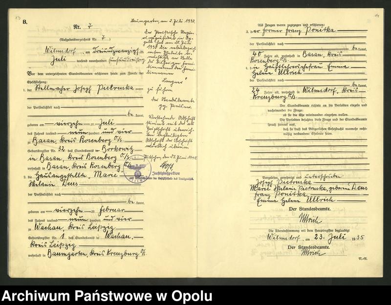 """image.from.unit.number """"Heirats-Register (Neben-Register) Standesamt Wilmsdorf Kreis Kreuzburg O/S 1935 vol.61 No. 1 bis 12"""""""