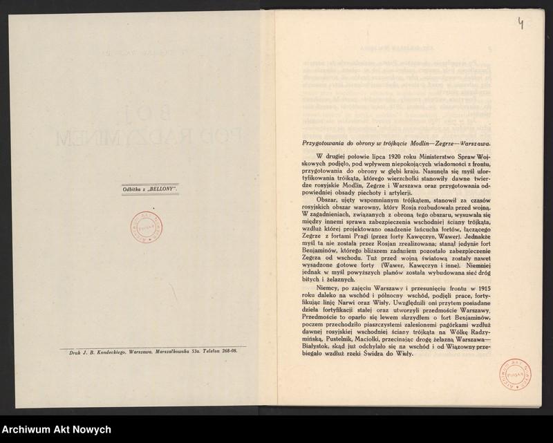 """Obraz 6 z jednostki """"Materiały dotyczące wojny 1920 roku. Odpisy akt, plany, wycinki prasowe. """""""