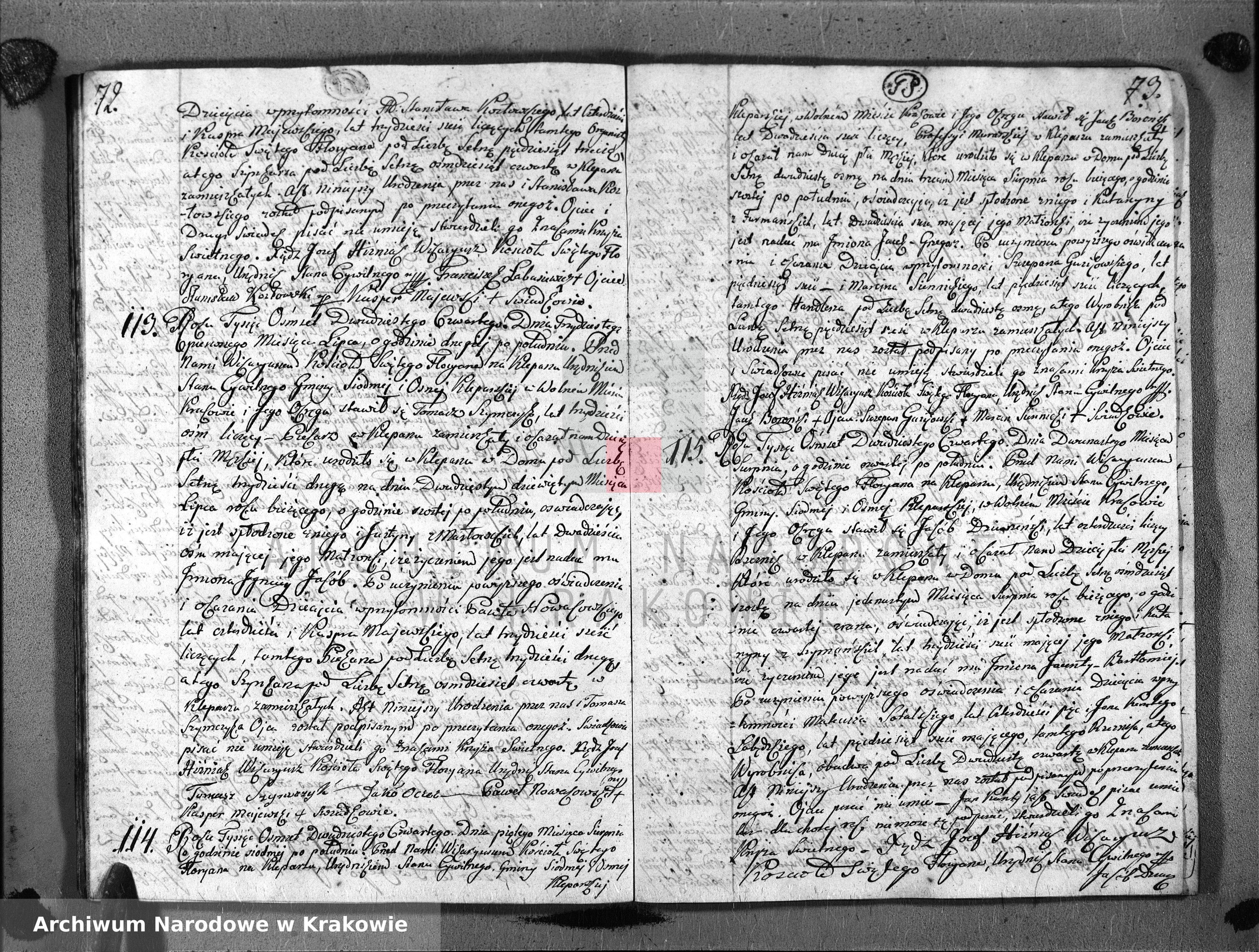 Skan z jednostki: Księga Aktów Urodzenia i Uznania dla Parafii Sgo Floryana przy Krakowie na Rok 1824
