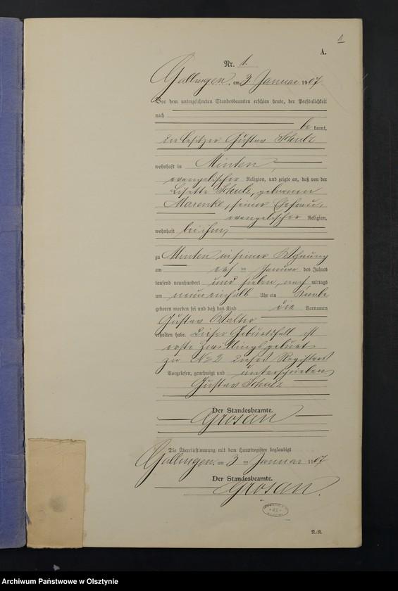 """Obraz z jednostki """"Geburts-Neben-Register Nr 1 - 46"""""""