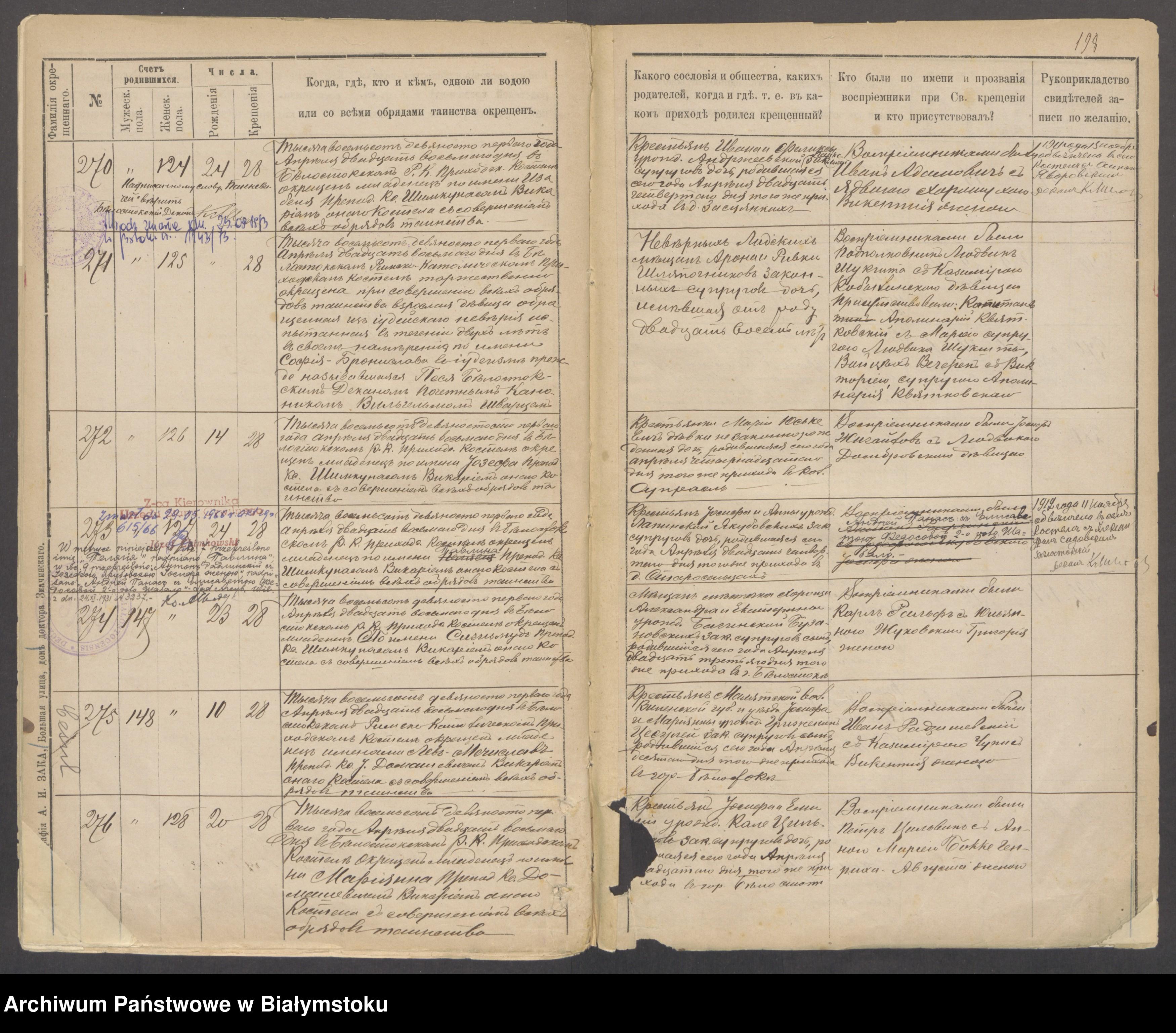 Skan z jednostki: [Akta urodzeń za lata 1889-1891]