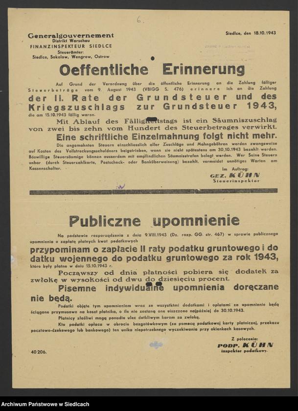 """Obraz 20 z kolekcji """"Afisze okupacyjne powiatu siedleckiego 1939-1944"""""""