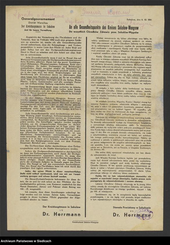 """Obraz 16 z kolekcji """"Afisze okupacyjne powiatu sokołowskiego 1939-1944"""""""