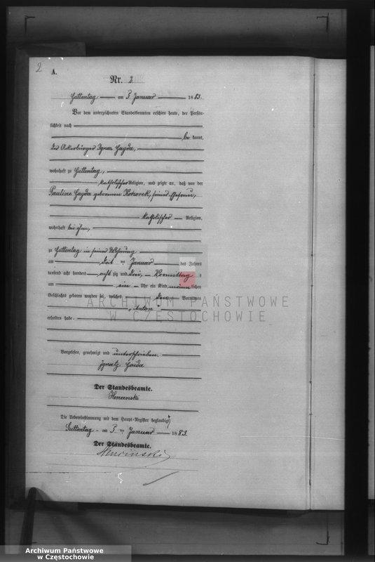 """Obraz z jednostki """"Geburts - Neben Register des Königlich Preussischen Standesamts Guttentag im Kreise Lublinitz pro 1883."""""""