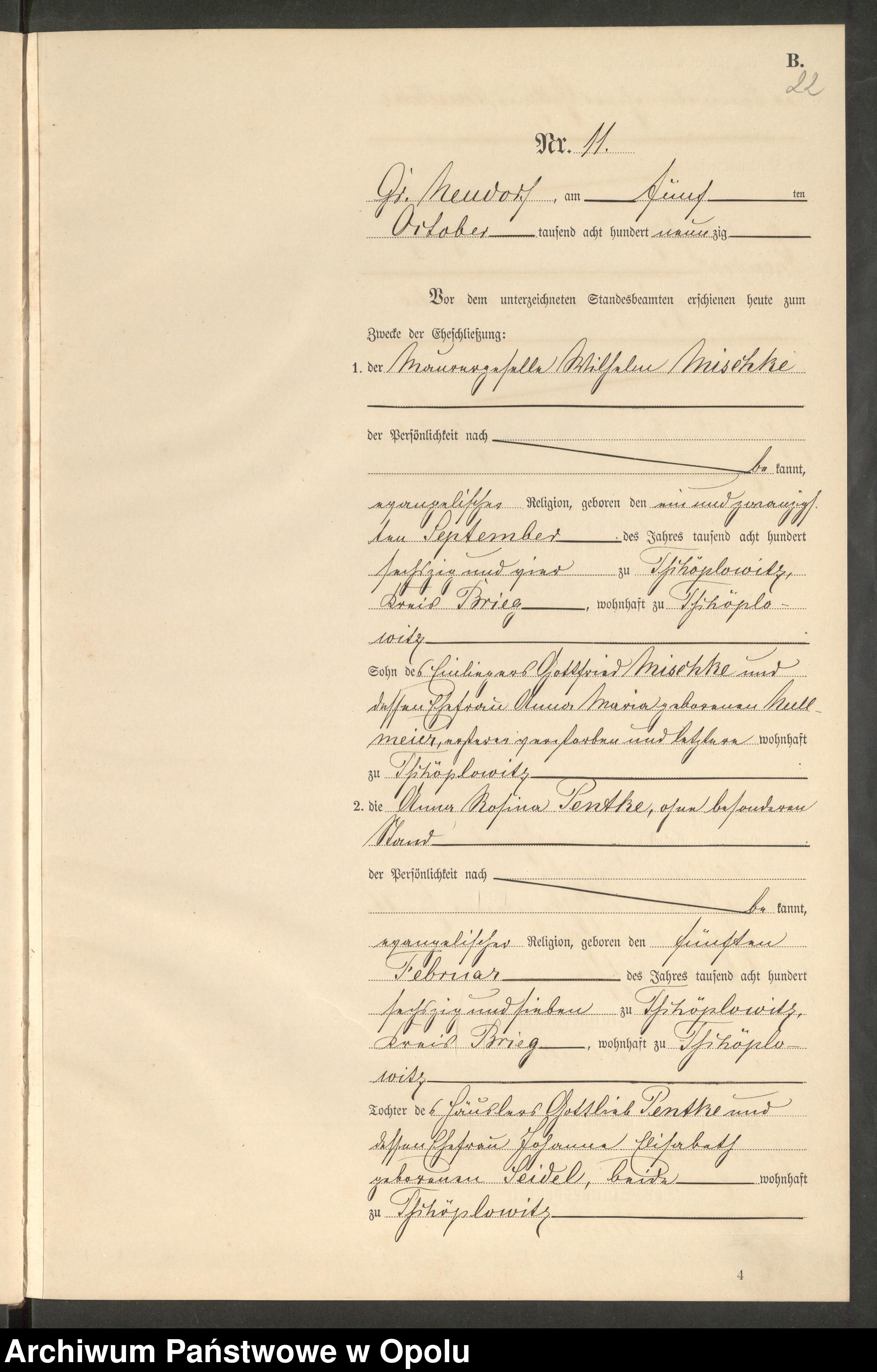 Skan z jednostki: Heiraths-Neben-Register Standes-Amt Gross Neudorf 1890