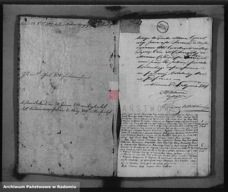 """Obraz z jednostki """"Akta stanu cywilnego gminy Świerże 1814-go"""""""