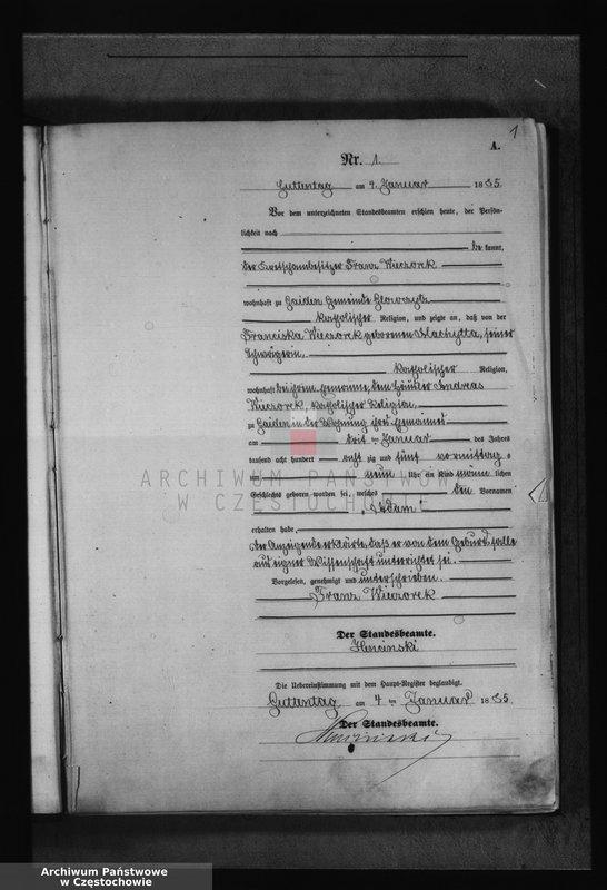 """Obraz z jednostki """"Geburts - Neben Register des Königlich Preussischen Standesamts Guttentag im Kreise Lublinitz pro 1885. Vol. I."""""""