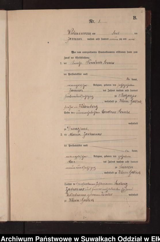 """Obraz z jednostki """"Heiraths-Neben-Register des Preussischen Standes-Amtes Widminnen Kreis Loetzen"""""""