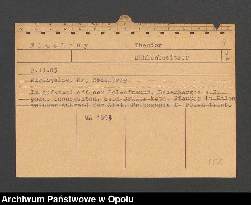 """Obraz 3 z jednostki """"[Nieslony Theodor, ur. 9.11.1883, zam. Kirchwalde]"""""""
