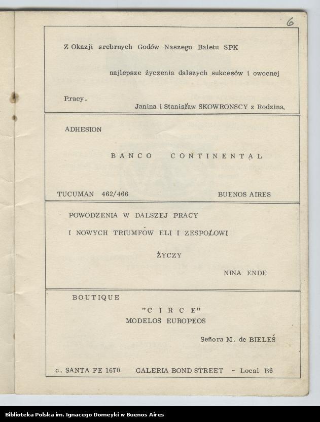 """Obraz 5 z kolekcji """"Nasz Balet 1949-1974 z Biblioteki Polskiej im. Domeyki w Buenos Aires"""""""
