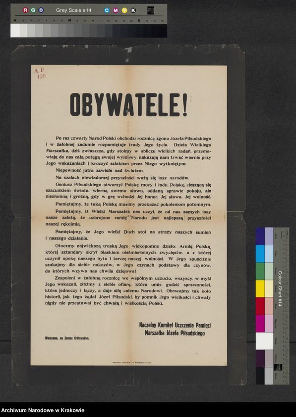 """Obraz z jednostki """"Odezwa Naczelnego Komitetu Uczczenia Pamięci Marszałka J. Piłsudskiego z okazji IV rocznicy śmierci J. Piłsudskiego."""""""