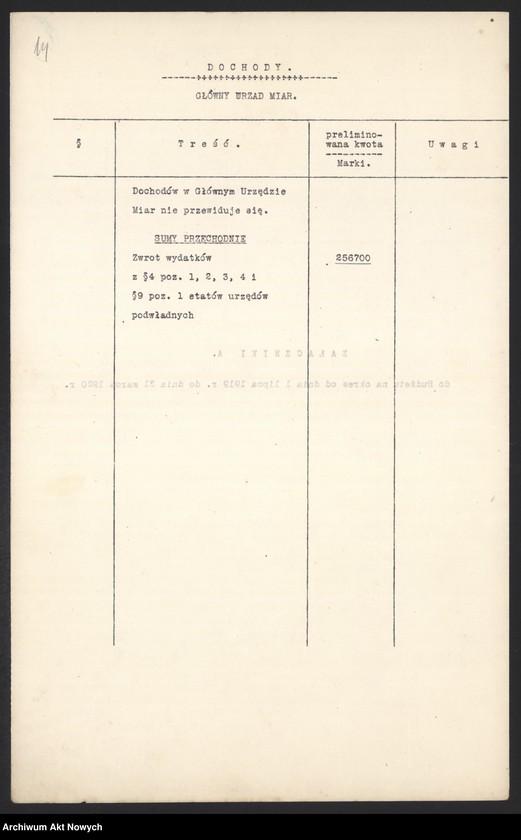 """Obraz 16 z jednostki """"[Budżet Służby Legalizacji Narzędzi Mierniczych na drugie półrocze 1919 r. i okres do 31 III 1920 r. Wyjaśnienia, zestawienia, załączniki.]"""""""