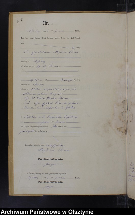 "Obraz z jednostki ""Sterbe-Neben-Register Nr 1 - 20"""