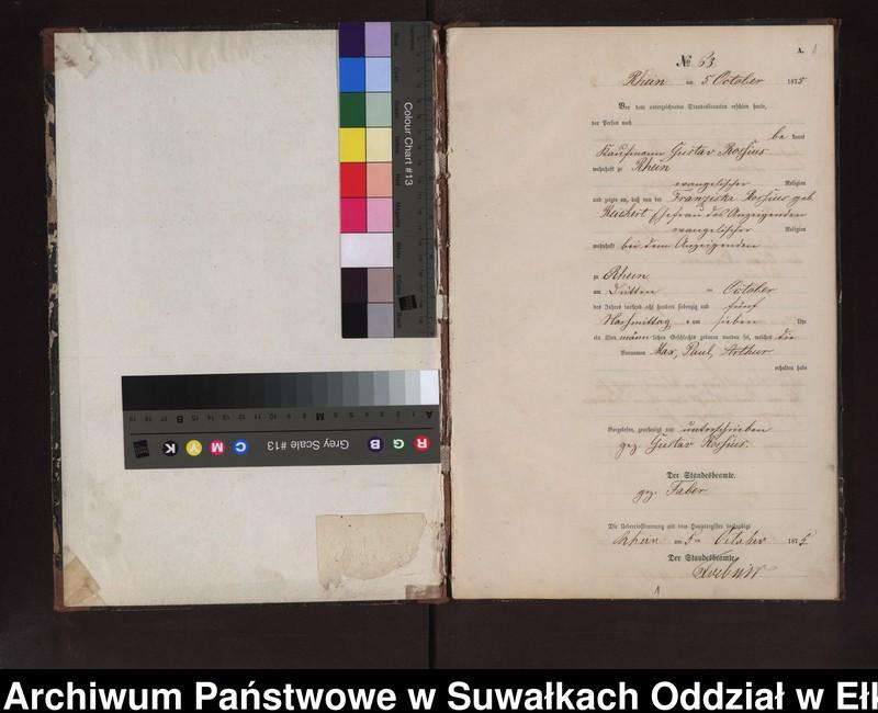 """Obraz z jednostki """"Geburts-Neben-Register des Preussischen Standes-Amtes Rhein Kreis Lötzen"""""""