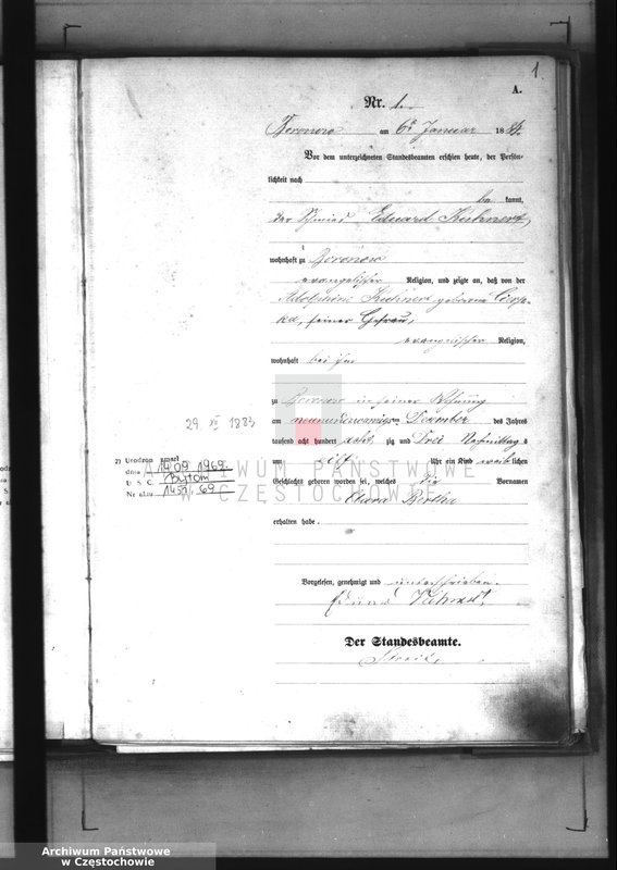 """Obraz z jednostki """"[Pierwopis aktów urodzeń z 1884 roku]."""""""