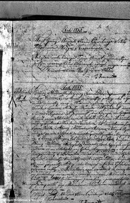 """image.from.unit """"Duplikat Urodzonych Zaślubionych i Zmarłych Sekty Filiponów w Gminie Krasnohruda na rok 1855"""""""