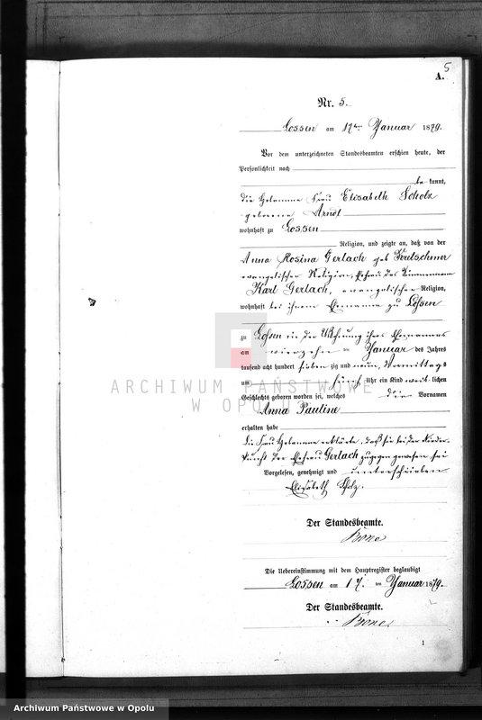 "Obraz 8 z jednostki ""Geburts-Neben-Register Standes-Amt Lossen 1879"""