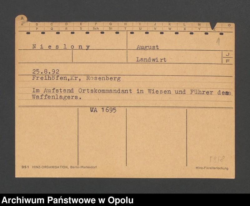 """Obraz 3 z jednostki """"[Nieslony August, ur. 25.8.1892, zam. Freihöfen]"""""""
