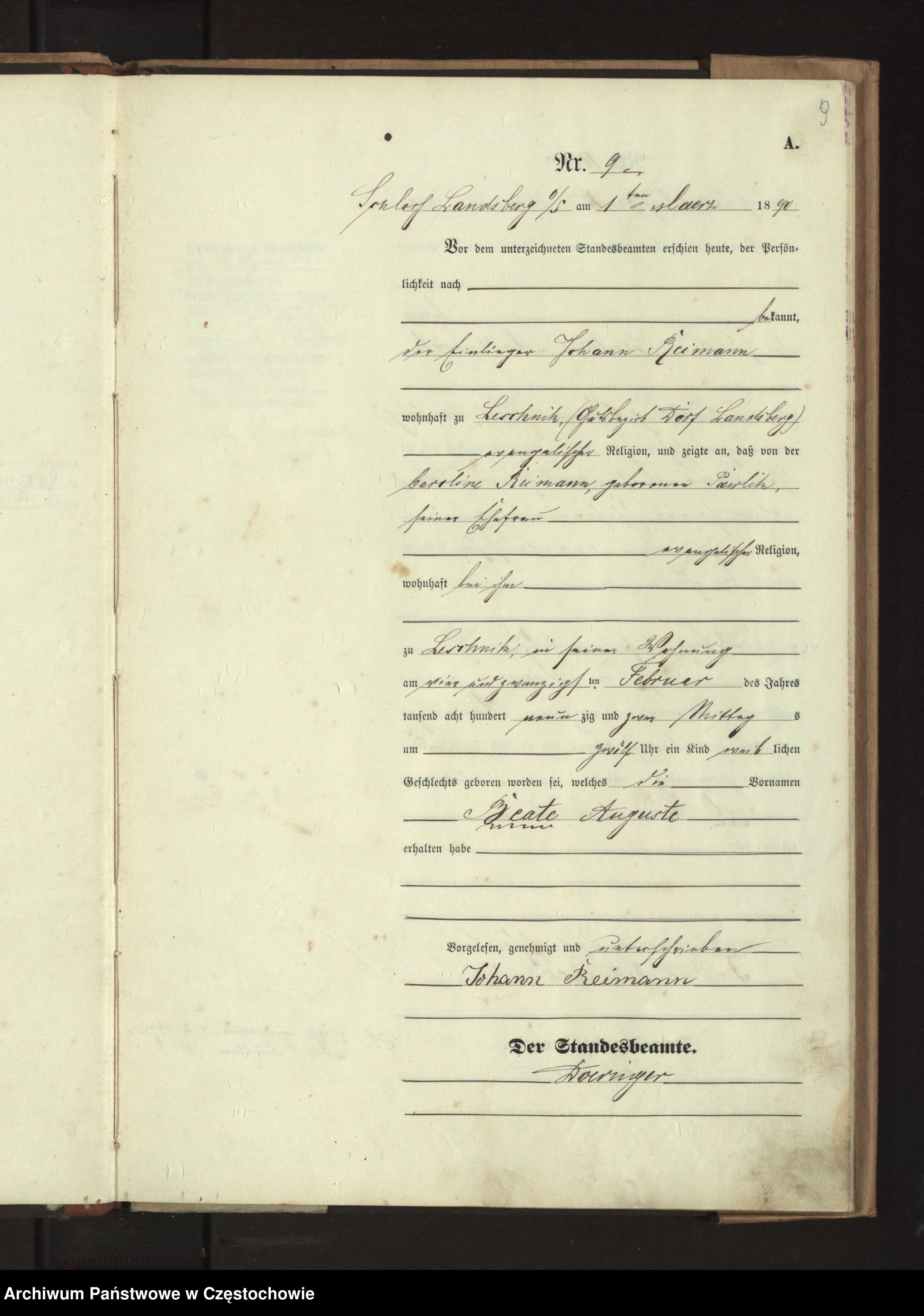 Skan z jednostki: Geburts - Haupt - Register des Koniglich Preussiechen Standesamts Wienskowitz  im Kreise Rosenberg o/ S. pro 1890.