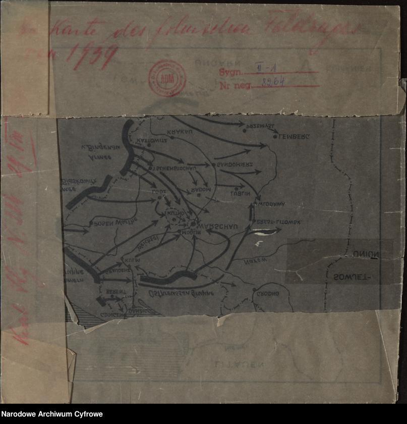 """image.from.unit """"Mapa przedstawiająca kierunki natarcia armii niemieckiej na Polskę we wrześniu 1939"""""""