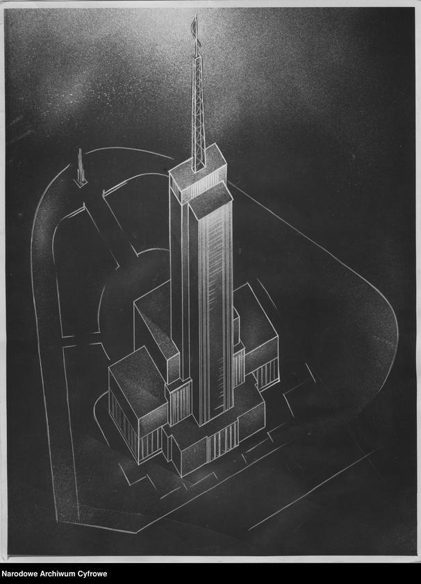odrzucony projekt siedziby Polskiego Radia z 1938, przypominający Pałac Kultury, z anteną telewizyjną na szczycie