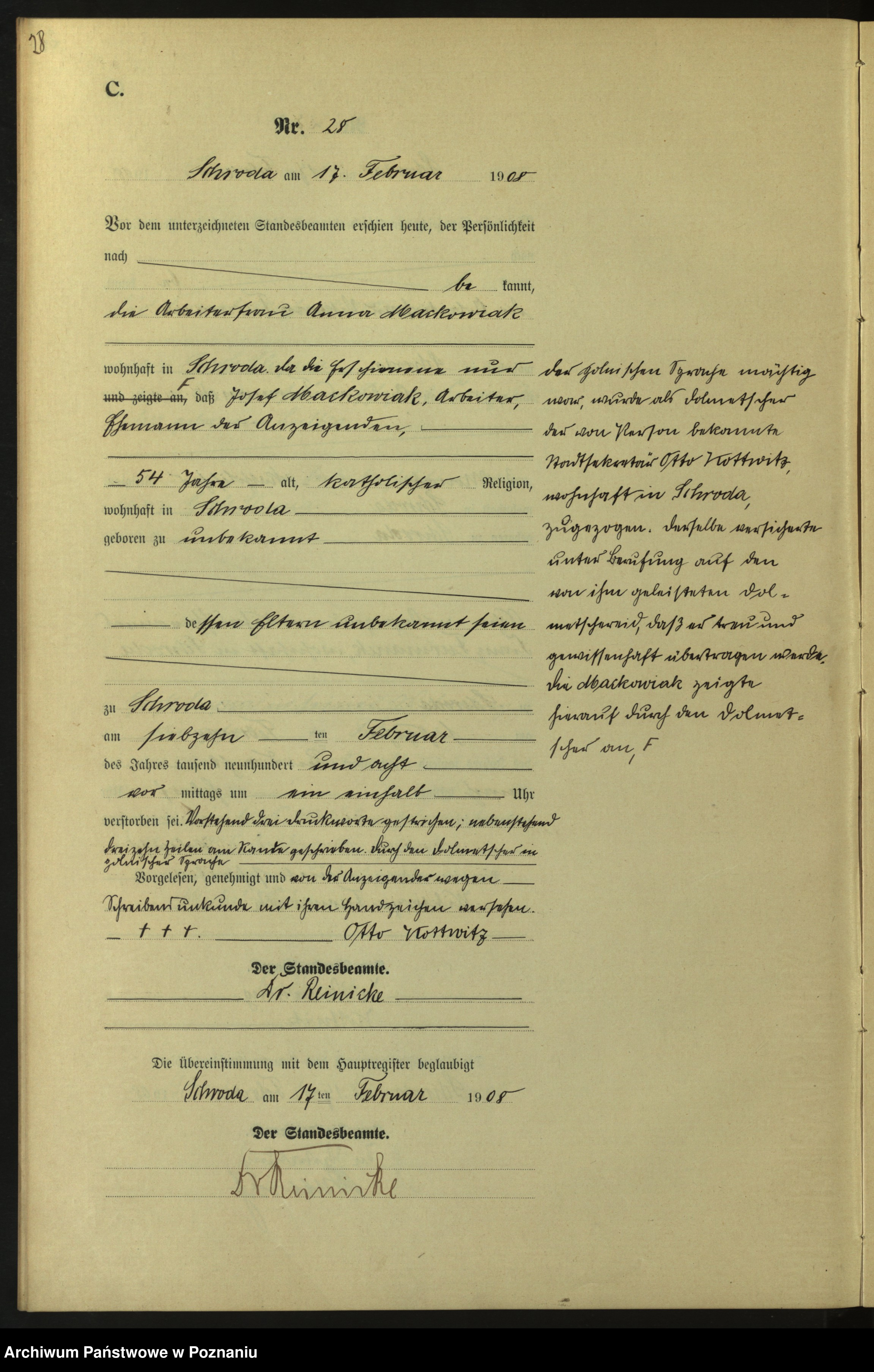 Skan z jednostki: Sterbe-Neben-Register. Band I von Nr 1 bis 159