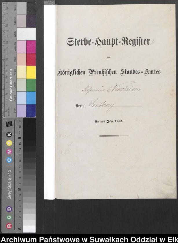 """Obraz z jednostki """"Sterbe-Haupt-Register des Königlich Preussischen Standes-Amtes Forstrevier Nicolaiken Kreis Sensburg für das Jahr 1885[do 1887]"""""""
