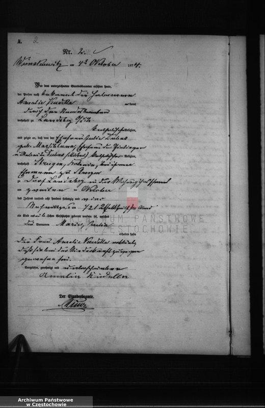 """Obraz z jednostki """"Geburts - Haupt - Register Wom 1.Oktober bis ultimo December 1874"""""""