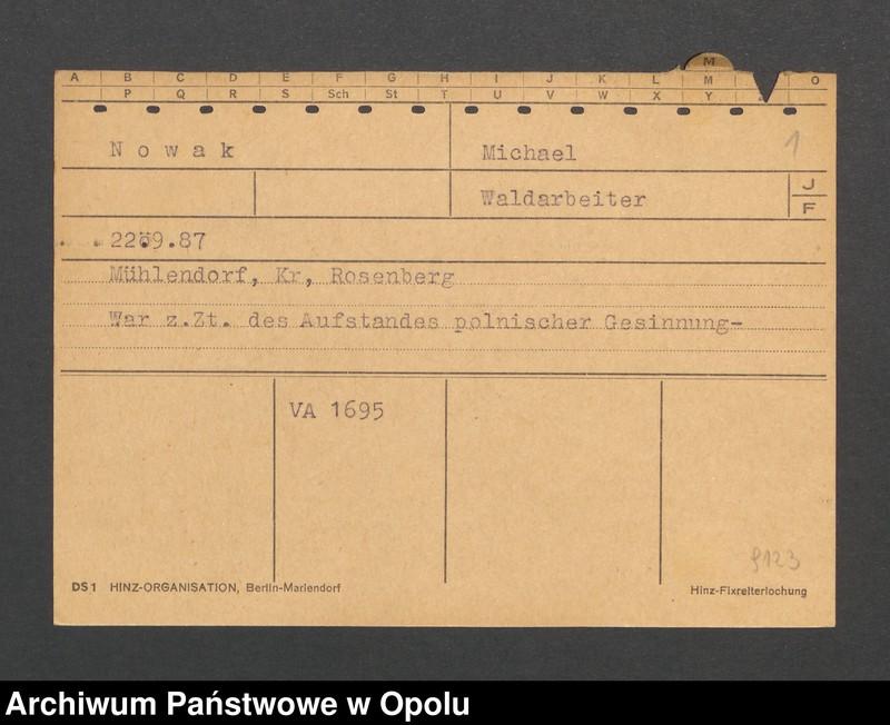 """Obraz 3 z jednostki """"[Nowak Michael, ur. 22.9.1887, zam. Mühlendorf]"""""""