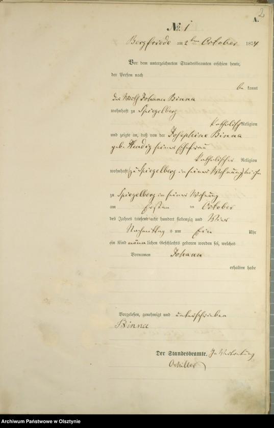 "Obraz z jednostki ""Haupt-Geburts-Register Nr 1 - 18"""