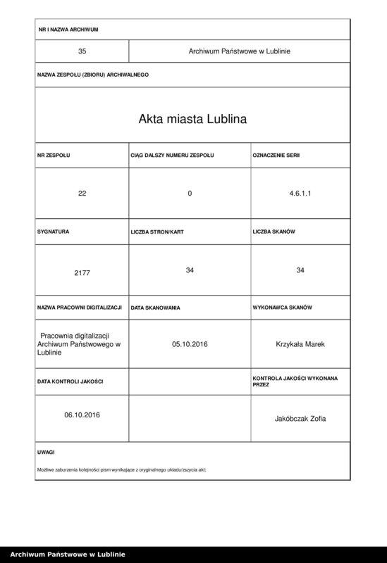 """Obraz 1 z jednostki """"Listy stanu służby urzędników i oficjalistów szpitalnych"""""""