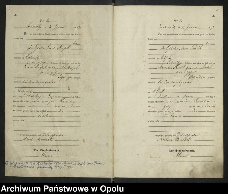 """Obraz 5 z jednostki """"Urząd Stanu Cywilnego Kobylice Księga urodzeń rok 1893"""""""