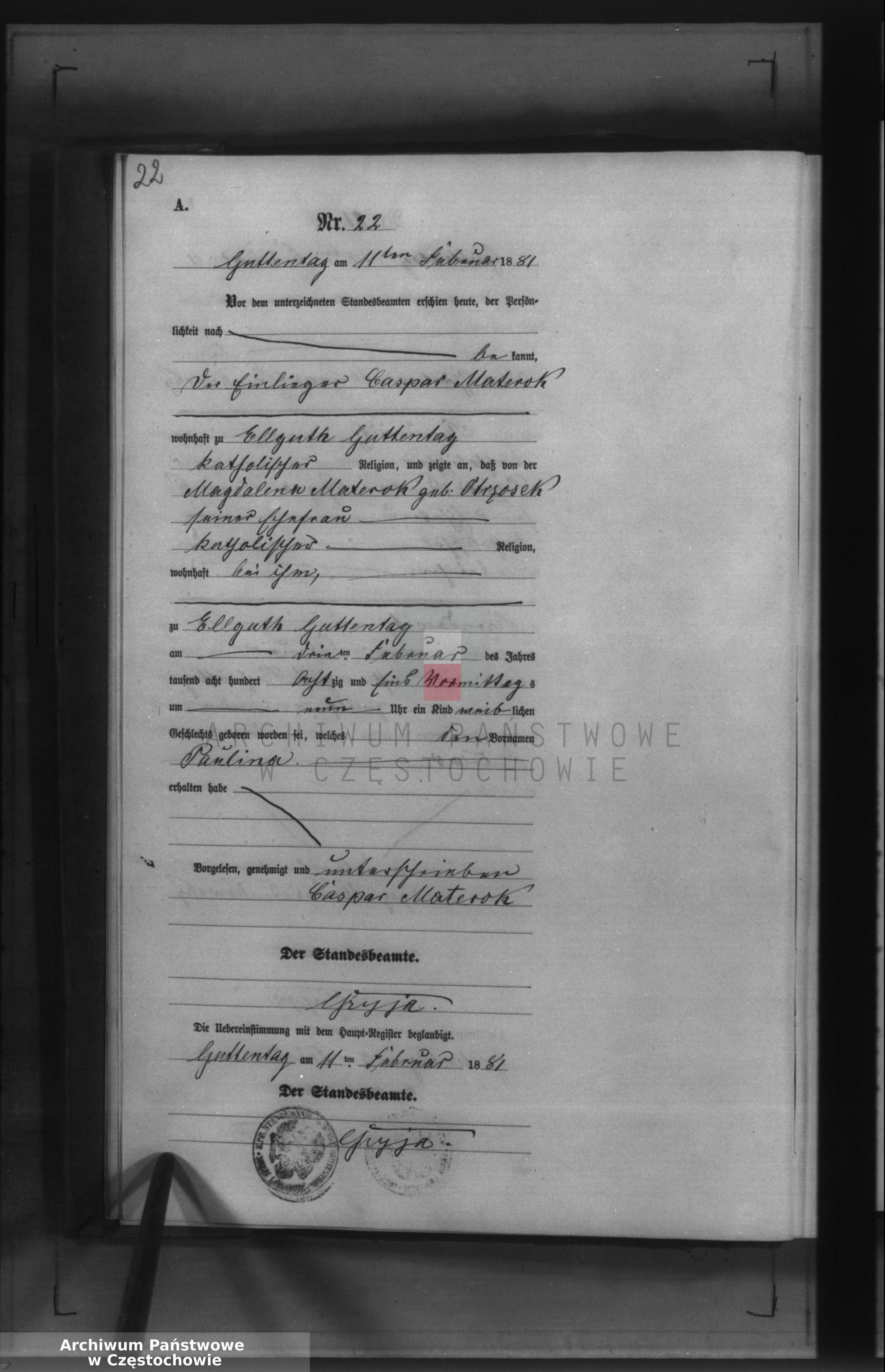 Skan z jednostki: Geburts - Neben Register des Königlich Preussischen Standesamts Guttentag im Kreise Lublinitz pro 1881.