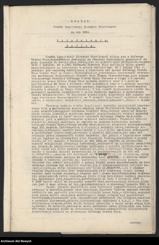 """Obraz 5 z jednostki """"Budżet Służbowy Legalizacji Narzędzi Mierniczych [w skład, której wchodzi Główny Urząd Miar i podległe mu urzędy okręgowe w b. zaborze rosyjskim, na Śląsku Cieszyńskim, w b. zaborze austriackim, pruskim i na Kresach Wschodnich], na [okres 1 I - 31 XII] 1922 r. [Wyjaśnienia ogólne, zestawienie.]"""""""