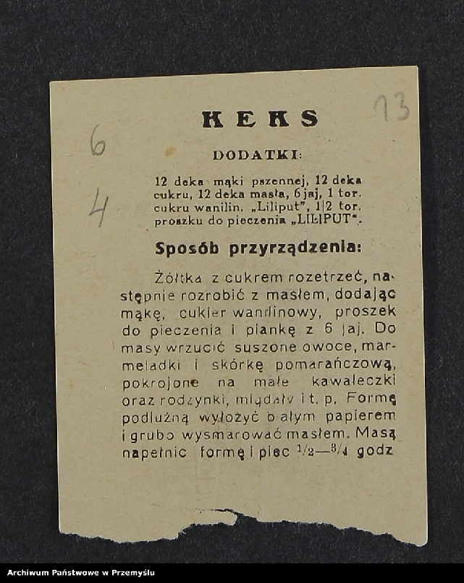 """Obraz 3 z kolekcji """"Przepisy kulinarne z kalendarza z 1935 roku"""""""