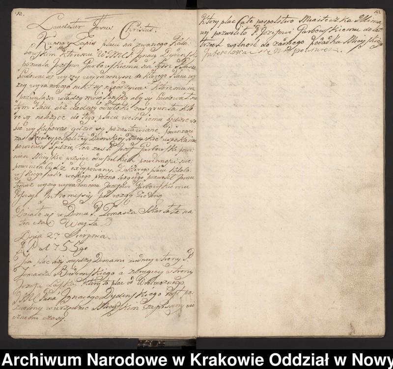 """Obraz 4 z kolekcji """"Fragment księgi wójtowsko-ławniczej miasta Limanowej z lat 1750-1818"""""""