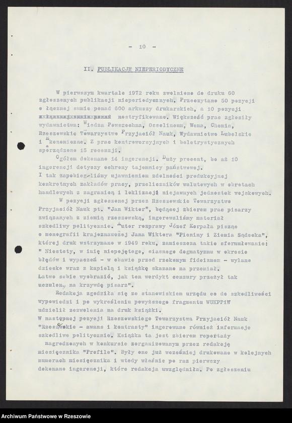 """Obraz 3 z kolekcji """"Wojewódzki Urząd Kontroli Prasy, Publikacji i Widowisk w Rzeszowie"""""""