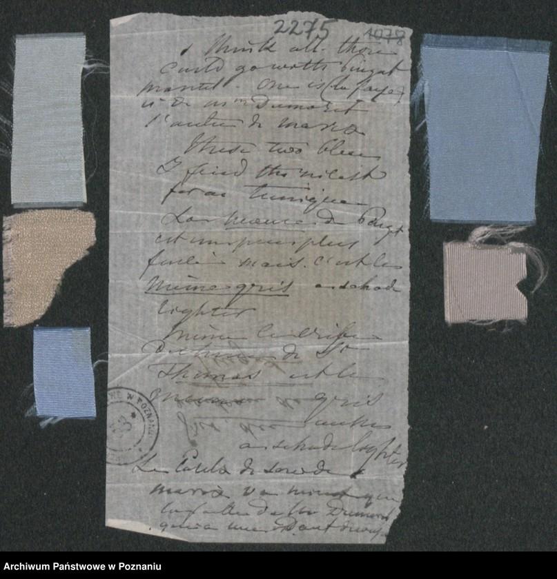 """Obraz 11 z kolekcji """"Szkice krawieckie w korespondencji Józefy Radolińskiej (1809-1880) z jej synem Hugonem (1841-1917) i synową Lucy Catherine Wakefield"""""""
