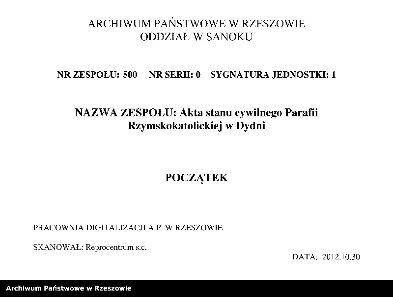 """Obraz z zespołu """"Akta stanu cywilnego Parafii Rzymskokatolickiej w Dydni"""""""