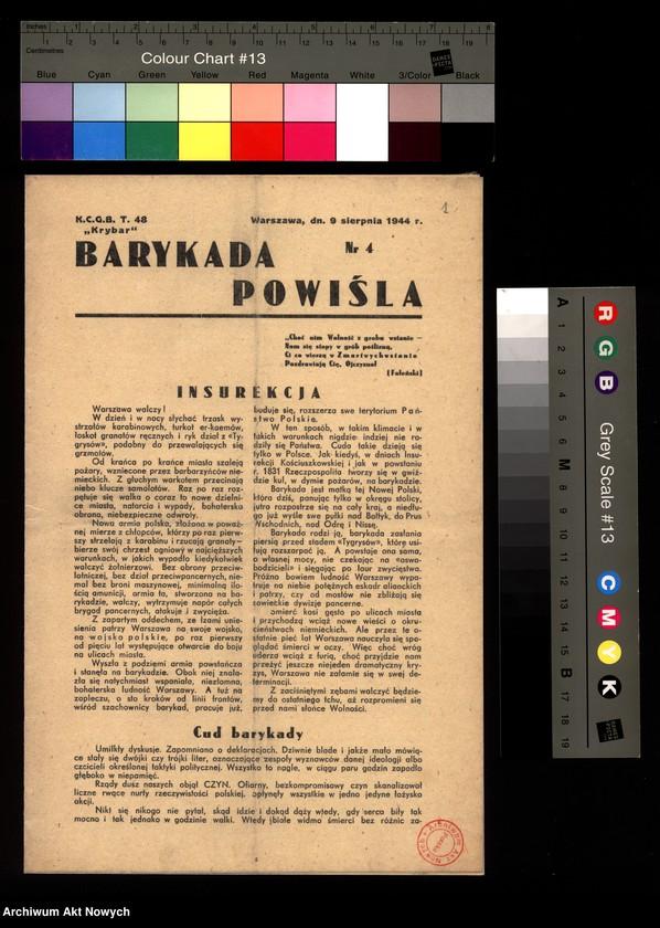 """Obraz 6 z kolekcji """"Powstanie warszawskie w prasie konspiracyjnej"""""""