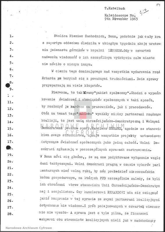 """Obraz 15 z jednostki """"Skrypty audycji z dnia 09.11.1963"""""""